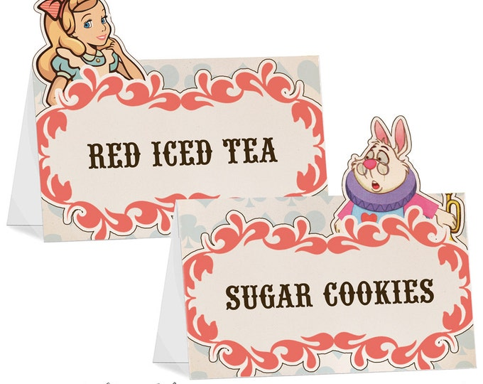 Alice In Wonderland Food Tent Card, Blank Template, DIY, Instant Download, Print Your Own