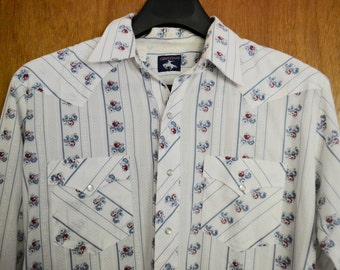 Vintage Western Style Men's Shirt with Rose Pattern by Chute #1