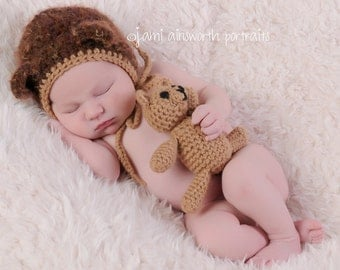 Newborn Photo Prop, Newborn Bear Hat and Teddy Bear Set, Bear Bonnet, Newborn Hat, Baby Bear, Crochet Teddy Bear