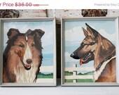 SHOP SALE Vintage Framed Dog Paint By Number Pair