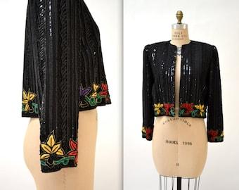 Vintage Black Sequin Jacket Size Medium with Floral Embroidery// Black Beaded Jacket Size Medium With black sequins and embroidery