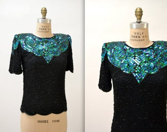 Vintage Black Beaded Shirt Size Small// Vintage Metallic Sequin Top Shirt Blue Green and Black Size Small Medium Petite Art Deco Flapper