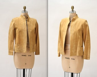 Vintage Suede Jacket in Camel Tan Medium// Vintage Leather Jacket Blazer Size Medium