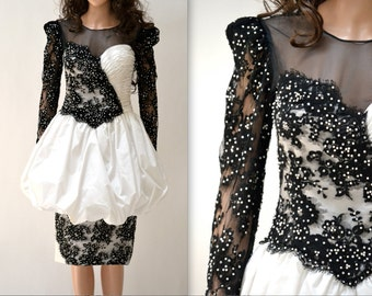 80s Vintage Black and White Party Dress Beaded Pageant Dress// Vintage Lace Illusion Dress in Black and White Size Small 80s Prom Dress