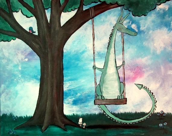 Dragon Tree Swing Fairy Tale Illustration Kids Art Print Wall