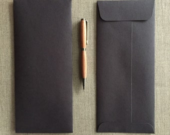 """Black Envelopes - Size 9 1/2"""" x 4 1/8""""  - Open End/Square Flap - 100% Recycled"""