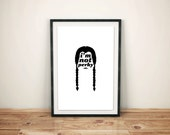 Wednesday Addams, Silhouette Quote Poster // Typographic Character Illustration Inspired by Addams Family
