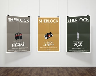 SAVE 5% - Consulting Detective Inspired 3-Print Series Part 3 // Minimalist Sherlock Prints with Tube Cabin, Camera, and USB Illustrations