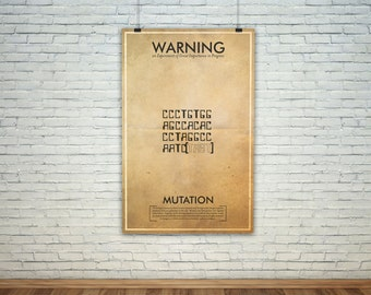 Mutation  // Vintage Science Experiment Warning Poster // Finge Inspired Wall Art for the Budding Mad Scientist