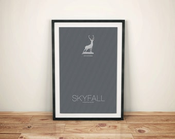 You Can Always Come Home // Skyfall Alternate Movie Poster // James Bond Pinstripe Suit Pattern and Stag Statue Illustration