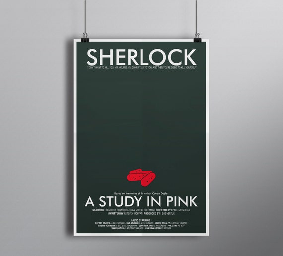 A Study in Pink, Minimalist Alternative Literature Poster // Typography and Poison Pills Illustration