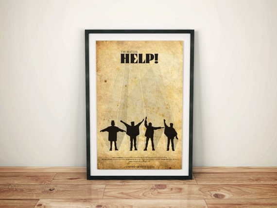 Not Just Anybody // Help! Alternate Movie Poster // The Beatles Silhouettes and Vintage Typography Print
