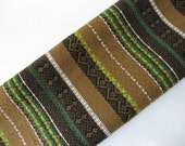 Gorgeous vintage upholstery embroidered stripe lime green white avocado black woven 60s 70s fabric