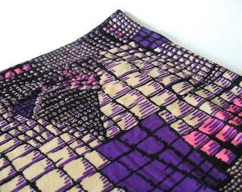 Sensational soft wide reptile print vintage poly blend stretch knit fabric purple pink black and tan 3 yards available