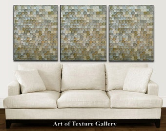 HUGE 48 x 108 Inches Abstract Textured Painting Custom Original Heavy Metallics Neutrals Gray Beige Olive Silver Oil by Je Hlobik