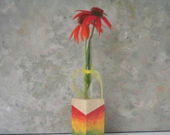 Test Tube Bud Vase, small flower vase, rainbow, colorful, hand painted, ooak