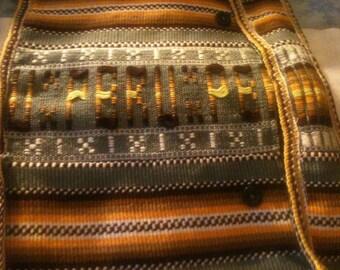 Handwoven cotton purse/shoulder bag Peru/med sz HTF 60s rare no closures or zippers unique design