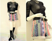 90s high waisted grafitti heart ikat aztec multicolor abstract striped shorts