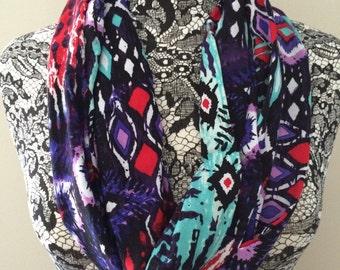 Tribal red teal purple knit infinity scarf// loop scarf// circle scarf