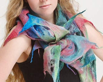 "Felted scarf ""I love colors"" OOAK Art to Wear wrap, shawl, cobweb wool shawl, nuno felted scarf"