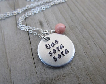 "Inspiration Necklace- ""Que sera sera"" with an accent bead of your choice- Hand-Stamped Necklace from Jenn's Handmade Jewelry"