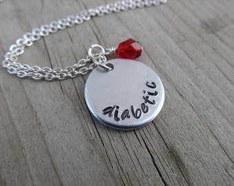 """Medical Alert Necklace- hand-stamped """"diabetic"""" Necklace with an accent bead in your choice of colors"""