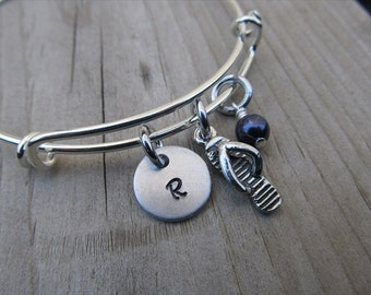 Flip Flop Bangle Bracelet- Adjustable Bangle Bracelet with Hand-Stamped Initial, Flip Flop Charm, and accent bead in your choice of colors