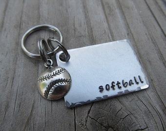 """Softball Keychain- with name of your choice or """"softball"""" with softball charm- Keychain"""