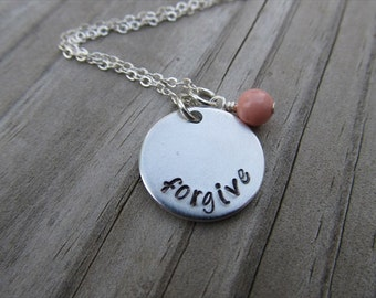 "Forgive Inspiration Necklace- ""forgive"" with an accent bead of your choice- Hand-Stamped Necklace by Jenn's Handmade Jewelry"