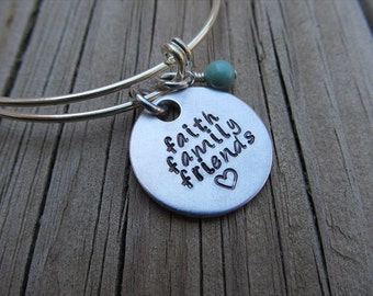 "Faith Family Friends Inspirational Bracelet- ""faith family friends"" with a stamped heart and an accent bead of your choice"