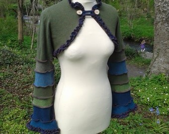 Elegant elven shrug from recycled sweaters by SpiralGypsy Size XS/S - Ready To Ship