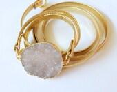 Luxe Druzy Leather Wrap Bracelet, gold bracelet, druzy bracelet, druzy jewelry