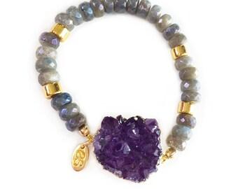 Labradorite & Amethyst Druzy Bracelet-beaded bracelet, druzy jewelry, boho