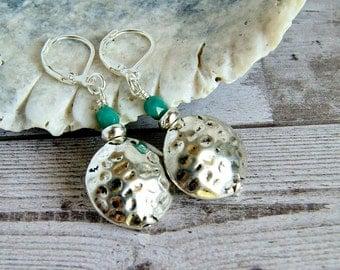 hammered silver drops, drop earrings, dangle, lever back, boho, bohemian, disk