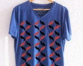 Men's Blue V-neck t shirt with a pocket- black and red cats print
