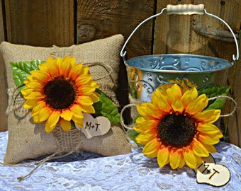 Sunflower Burlap Ring Pillow, Sunflower Flower Girl Bucket, Sunflower Wedding Pillow and Basket,  Sunflower Wedding, Ring Pillow and Basket