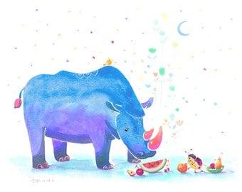 Watercolor Rhinoceros and Ladybird Print - First Watermelon - 8x10 Blue Version - Nursery Decor Art, Blue Rhinoceros, Kids Wall Art