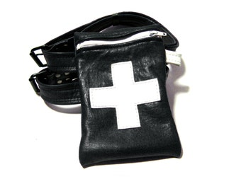 Black w/ White Leather MEDICAL GARTER BAG Thigh Holster