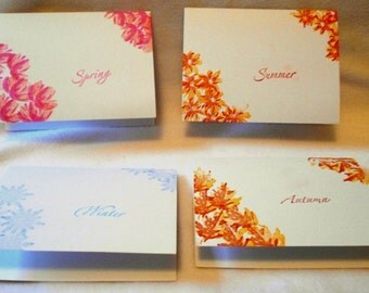 Seasons Hand stamped notecards, set of four notecards, one for each season, blank on the inside, with matching envelopes