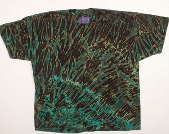 XXL Shibori Men's T Shirt Black Green Tie Dye 2X