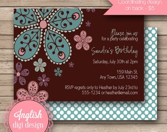 Printable Floral Birthday Party Invitation, Floral Birthday Party Invite, Flower Birthday Invite - Bold Blooms in Brown, Blue and Pink