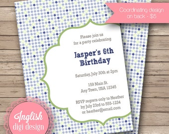 Printable Polka Dot Birthday Party Invitation, Polka Dot Birthday Party Invite - Party Polkas in Shades of Blue and Green