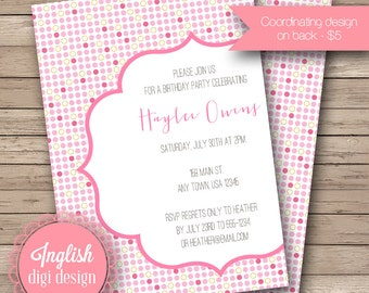 Printable Polka Dot Birthday Party Invitation, Polka Dot Birthday Party Invite, Polka Dot Party Invite - Playful Dots in Shades of Pink