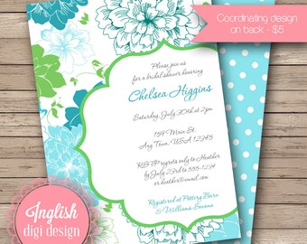 Garden Blooms Bridal Shower Invite, Printable Floral Bridal Shower Invite, Flower Bridal Shower Invite - Garden Blooms in Blue, Teal, Green