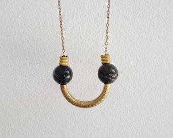 Sala - vintage brass tube and Amazonite stone geometric Art Deco necklace