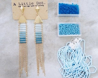 Lala - Geometric tribal inspired seed beads and chain tassel earrings