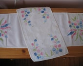 Vintage Cross Stitched Table Runner Set, Pink, Blue Spring Flowers