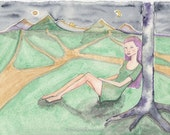 Considering Choices, Woman Sitting under a Tree, Night Landscape, Original Watercolor Painting