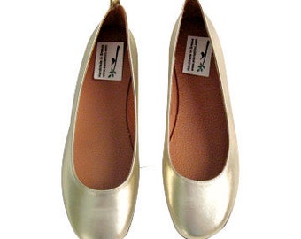 GOLD FLATS! Leather flats women's Genuine leather,gold or silver ballet flats, leather flats, ballet bridal or bridesmaid flats prom shoes