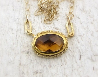 Bear Quartz Gold Pendant - 24k Solid Gold Pendant - Fine Necklace